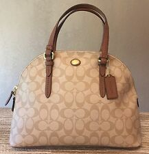 AUTHENTIC COACH Leather Tan & Brown Peyton Signature Cora Domed Satchel #24606