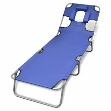 vidaXL Folding Sun Lounger with Head Cushion Powder-coated Steel Blue
