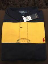 Polo Ralph Lauren Long Sleeve Men's Rugby Shirt Navy Yellow 100% Cotton XXL NWT