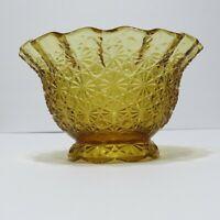 Vintage L. E. Smith Golden Amber Crimped Bowl #4621 Daisy & Button Pattern