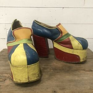 Vintage 70s Platforms Shoes Pumps Heels Rainbow Multi Color Elton John Rock Star