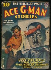 ACE G-MAN STORIES October 1942 Pulp Magazine HITLER Poster Cover DAY KEENE