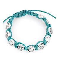 AMEN Bracciale unisex Shamballa SHMM13 cotone azzurro madonna bijoux religioso