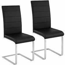 2x Chaise cantilever de salle à manger ensemble à piètement luge cuisine noir
