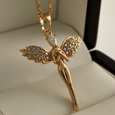 18ct Yellow Gold Filled Guardian Angel Wings Crystals Pendant Necklace Chain 355