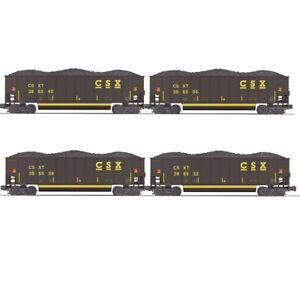 MTH Premier 20-92223 CSX 4-Car Coalporter Hopper Cars w/Coal Load, O Gauge, NIB