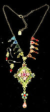 Beautiful Flower Statement Necklace And Earrings Multi Color Leaf EYECATCHING