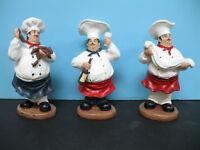 Italian  FAT Chef figurine BISTRO DECOR home set of 3 .