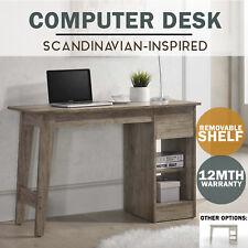 MEYA Computer Desk Study Table Scandinavian WHITE Oak Shelf Storage Furniture