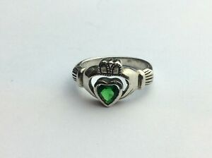 """Solid Silver 925 """"Green Stoned"""" Claddagh Ring Size """"M 1/2"""" Available Worldwide"""