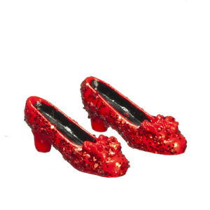 Red Glitter Shoes, Dolls House Miniature, Dolls Accessory 1.12 Scale