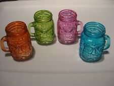 "Set Of 4 Tiki Face Mason Jars / 3"" x 2"" Mini Mugs With Handles"