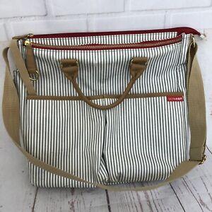 Skip Hop Diaper Bag Gray/White Stripe Zipper Carry Handle Shoulder Messenger Bag