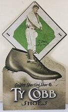 TY COBB BASEBALL SHOES GOLDEN SPORTING SHOE CO HEAVY DUTY METAL ADVERTISING SIGN