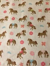 TWIN BED Bedding Flat Sheet with PRETTY BROWN HORSES PONIES HORSE PONY by CIRCO