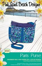 "PARIS PURSE Sewing Pattern by Pink Sand Beach Designs 12"" W x 9.5"" H x 2.5"" D"