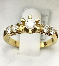 18k solid yellow gold diamond engagement ring 5 stone band wedding