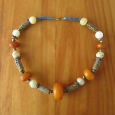 Vintage African Trade Bead Necklace Amber Phenolic Resin Millefiori Glass Copal