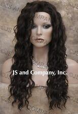 HEAT SAFE HUMAN HAIR Blend Long Wavy Solid Dark Brown wig Flat WBBZ 4