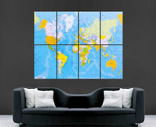 MAP OF THE WORLD MAP POSTER PRINT MAPS  GIANT WALL ART SCHOOL SCIENCE  IMAGE