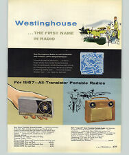 1957 PAPER AD 4 PG Westinghouse Table Cock Radio COLOR Transistor Record Player