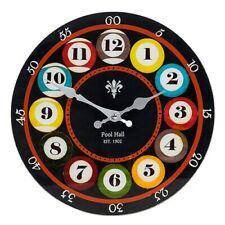 Glass Pool Man Cave Games Room Clock Bedroom Gift Large 30cm x 30 cm
