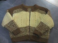 Warme Strickjacke für Jungen in Gr. 116 braun handmade