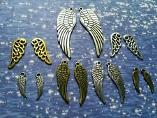 14 Angel Wing Charms Pendants Assorted Antiqued Silver Bronze Gold 50mm 40mm