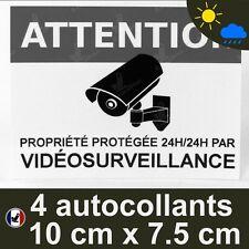 4 Autocollants videosurveillance dissuasif alarme video extérieur pluie UV