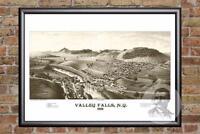 Vintage Valley Falls, NY Map 1887 - Historic New York Art - Victorian Industrial