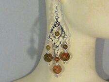 Gemstone Earrings - Unakite & 925 Sterling Silver- Green/Coral- long chandeliers