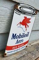 VINTAGE OLD 1947 MOBILOIL AERO MOTOR OIL CAN PORCELAIN GAS STATION SIGN