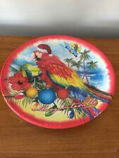 """Margaritaville Melamine Plastic Tropical Parrot Christmas SERVING PLATE 11"""""""