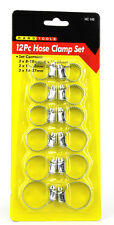 NEW 12 PIECE PLATED STEEL JUBILEE CLIP HOSE CLAMP SET HAND TOOL - 8mm -27mm