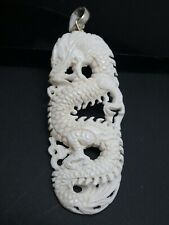 Dragon Carved Water Buffalo Bubalus Bubalis Bone 925 Large Pendant Necklace Cord