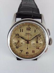 Chronographe EBEL acier circa 1940 cal LEMANIA CH27 ( omega 320 ) 27chro RARE !!