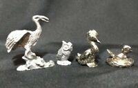 VTG Pewter Bird Figurines Lot 1 Heron Crane 1 Duck 1 Owl 1 W/Nest 80's Taiwan