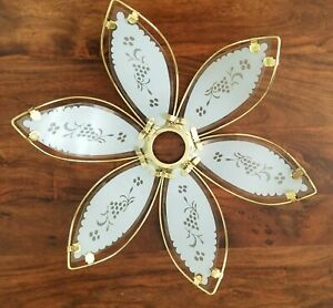 Lotus Flower Shaped Touch Lamp Replacement Shade Gold Colored Frame 1