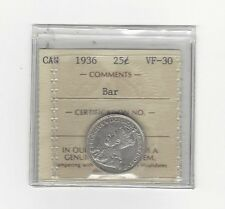 **1936 Bar** ICCS Graded Canadian, 25 Cent, **VF-30**