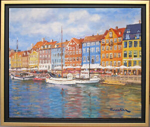 HARBOR IN COPENHAGEN~DENMARK~LISTED ARTIST~ORIGINAL OIL PAINTING MARC FORESTIER