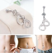 Sexy Handcuffs Chain Kinky Bondage Body Piercing Navel Belly Bar Button Ring