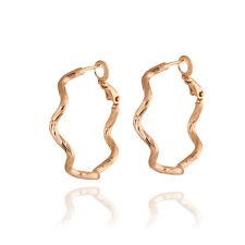 Dancing 10K Gold Filled Wave Slim Design Hoop Earrings Cute Ear Studs Jewelry