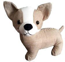 Chihuahua Dog Door Stop Door Stopper Beige And White Fabric 1.6kg