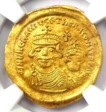 Heraclius with Her. Constantine AV Solidus Gold Coin 613-641 AD - NGC MS (UNC)