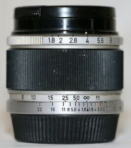 Canon Black 50mm f/1.8 M39 Leica Threadmount Lens Late Version in Very Nice