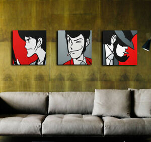 TRITTICO QUADRI 30X30 Banda Lupin Jigen Goemon POP ART moderno acrilico su tela