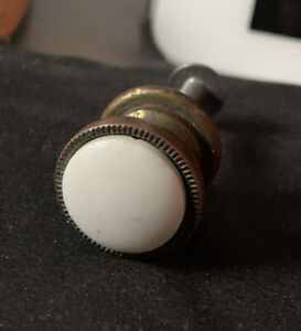 """Ethan Allen Brass White Knob Drawer Pull & Screw Porcelain Salvaged 5/8"""""""