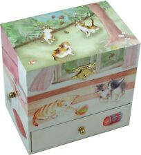 Curious Kittens Musical Jewellery Box Girls Wind Up Music Box For Children Cats