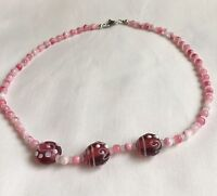 Pink Glass Necklace Lampwork Beads White Red Beaded 20inches Prom Party
