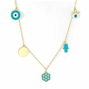 1pc Blue Eye Pendant Necklaces Stainless Steel Flower Necklace Women's Geometric